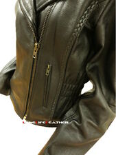 Womens Leather Jacket Biker Motorcycle Braided Jacket Stretchable Waist LLL-131