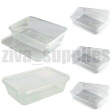 FOOD CONTAINERS & LIDS(500ml) Microwave/Freezer Safe/Clear Plastic/Takeaway Box
