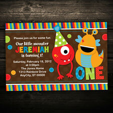 Little Monsters Printable Birthday Party Invitations -- Any Color 1st, 2nd, 3rd