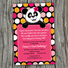 Pretty Panda Bear Printable Baby Shower or Birthday Invitations -- Any color