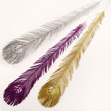 Long Artificial Glitter Peacock Feather Leaf!  Bling Artificial Foliage Crystal