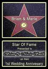 NEW & PERSONALISED 1ST FIRST PAPER WEDDING GIFT - HOLLYWOOD STAR OF FAME!