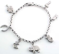 925 STERLING SILVER LUCKY CHARM BRACELET WITH CUBIC ZIRCONIA