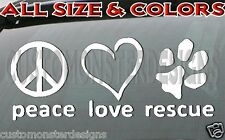 DOG RESCUE decal DOG LOVER Dog rescue decal all size & colors FAST Shipping!