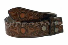 Brown Embossed Western Indian PU Leather Snap On Belt Strap For Belt Buckles