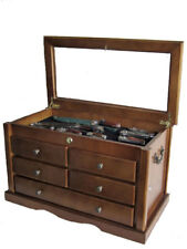 Large Knife Display Case Storage Cabinet w/Shadow Box on the top, Solid wood:KC7