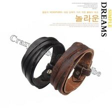 Men Women Unisex Multi thong braided thin Genuine Leather Bracelet wristband 197