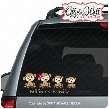 Monkey Family Stick Figure Car/Truck Decal Sticker
