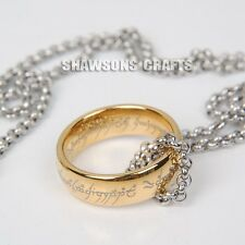 LORD OF THE RINGS JEWELRY 7MM GOLD TUNGSTEN ONE RING WITH TITANIUM STEEL CHAIN