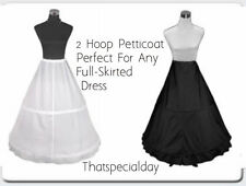 2-HOOP PETTICOAT UNDERSKIRT CRINOLINE WEDDING DRESS BRIDAL WHITE  BLACK S-L