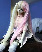 Doll Wig Long Straight Blonde, Pink Split BJD Ball Jointed Size 6, 7, 8, 9 NEW