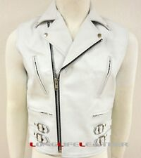 Mens White Leather Motorcycle Biker Vest Zipper Pockets Buckle Belts All Sizes