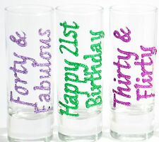 Personalised 21st Gift  18th 20th 30th 40th 50th Birthday Present Shot Glasses
