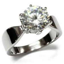 Stainless Steel 4.7ct.Solitaire Round Cubic Zirconia Engage Ring  FSH