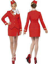 Sexy Virgin Red Air Hostess Trolley Dolly Fancy Dress 4 PIECE Costume,EXCELLENT!