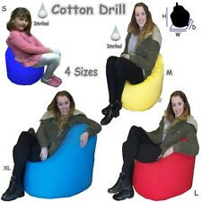 Cotton Drill Bean Bags Children Chair Large Adults Kids Giant Beanbag Pre-Filled