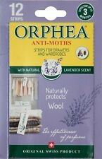Packs of 12 ORPHEA MOTH REPELLENT STRIPS + Lavender for Drawers & Wardrobes 2852