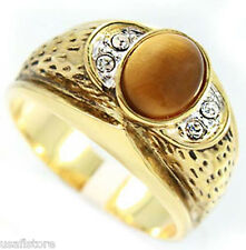 Mens Genuine Tiger Eye Tutone Gold Plated Ring New
