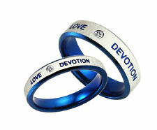 Couples Blue Stainless Steel CZ Ring LOVE DEVOTION wedding anniversary bands