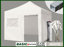 New 10x10 Commercial EZ POP UP Canopy Gazebo +4 Side Walls + Roller Bag + Awning