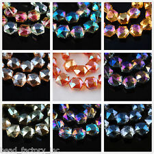 New Multicolor 14mm Sexangle Faceted Crystal Glass Finding Charm Spacer Beads