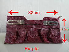 NWT Womens clutch bag/Evening bag/party bag/ hand bag,Black/Purple, Free postage