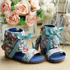 Boutique Breath Taken Beautiful Fabric Floarl Sandals Zippers On the Sides NWT