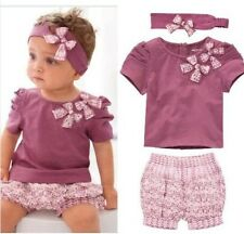 3Pcs Kids Girls Baby Short Top+ Pant +Headband Set Clothes Costume Outfit 0-36M