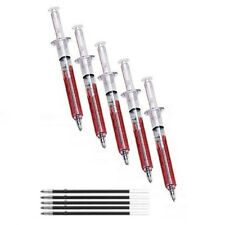 Qty 5 Blood Red Syringe Injection Ballpoint Pens - FREE P&P - Free Refills ! NEW