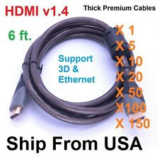 PREMIUM HDMI CABLE V1.4 1080P GOLD-PLATED CONNECTOR BLURAY 3D DVD HDTV XBOX LOT