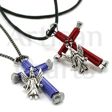 Wire Wrapped Horseshoe Nail Cross Necklace with Guardian Angel for Men Women