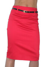 NEW (2347) pencil skirt stretch sateen + FREE belt red size 8-18