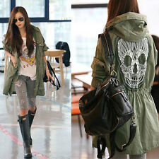 New ! WOMEN BACK SKULL ARMY GREEN JACKET LOOSE HOODED TRENCH COAT GWF-3905