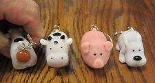2 NEW NAUGHTY FARM ANIMALS POOPING KEYCHAIN DOG PIG OR COW SQUEEZE POOP KEY RING
