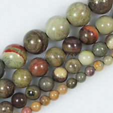"Natural Silver Leaf Jasper Gemstone Round Loose Beads 4 6 8 10mm 15.5"" Pick Size"