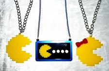 PACMAN MS GAME RETRO ACRYLIC LAYERED NECKLACE GEEK NERD VIDEO GAME GAMER BOW