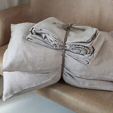 100% Linen Organic SHEETS SET 4pcs White Natural Luxury European Flax Bedding