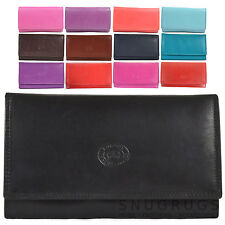 LADIES SOFT NAPPA LEATHER PURSE FLAP OVER STYLE - 8 Colours Available