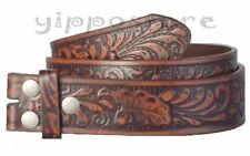 Brown Embossed Western Bonded Leather Snap On Belt Strap For Belt Buckles