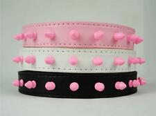 "Pink Spiked Studded PU Leather Puppy Dog Collar For Neck Size 8""-18"" New C55"