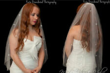 "Ivory/White 1 Tier Waist Length Bridal Wedding Crystal Veil 30"" Cut Edge Soft"