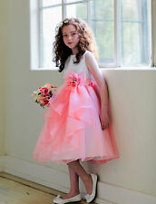 White Coral Flower Girls Dress, Wedding Bridesmaid Party Pageant Girls Dress