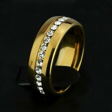 7mm GOLD Plated Stainless Steel Eternity CZ Mens & Womens Wedding Band Ring