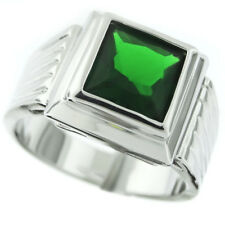Square Cut Emerald Green Rhodium Plated Ring New
