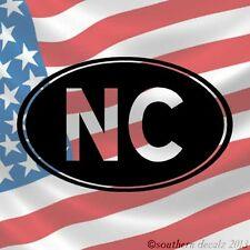"NC North Carolina State Abbreviation- 6""x3.75""-Choose Color -Vinyl Decal Sticker"