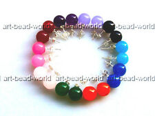 10mm variations color round mixed-color jasper earring s925 stud