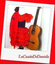 Vestido disfraz de flamenca niña rojo/negro/ Flamenco Costume Spanish dress girl