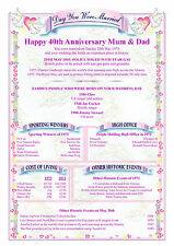 Personalised Anniversay certificate Birthday gift 21st 25th 30th 40th 50th 60th