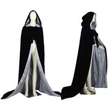 Black Velvet Hooded Cloak/Silver Satin Halloween Wedding Cape Wicca LARP Sca