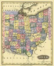Old State Map - Ohio - Lucas 1823 - 23 x 28.38
